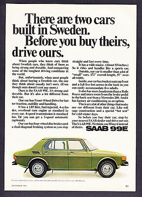 "1972 Saab 99E Sedan photo ""Strong & Durable"" promo ad"