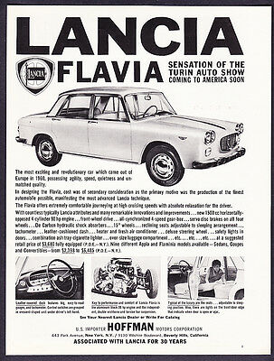 "1961 Lancia Flavia Sedan photo ""Unmatched Quality"" promo print ad"