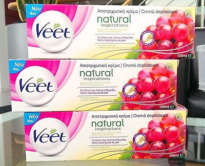 3 x VEET 100ml Natural Inspirations Hair Removal Cream (Sensitive Skin) RRP £21