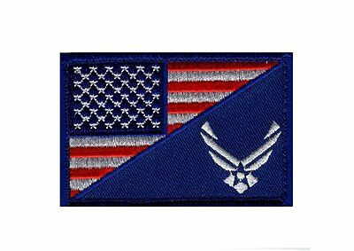 USAF USA Flag USA Air force Logo Embroidered Morale Hook Patch (YEN1)