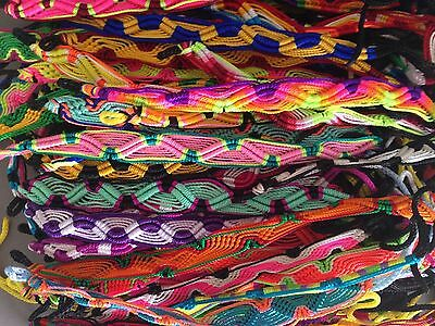 25 colorful friendship bracelets handmade thread Peruvian lot one size