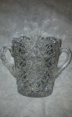 "Cut Glass Button And Daisy Handled Ice Bucket? Vase 5 1/2 "" High"