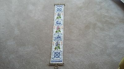 Vintage Needlepoint Tapestry Length Flowers and Delft Designs Holland