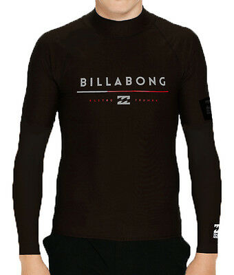"New + Tag Billabong Boys (12) ""tri Unity"" Long Sleeve Wet Shirt Rash Vest Black"