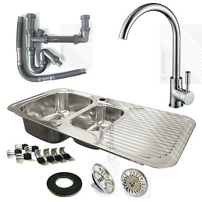 Stainless Steel 1.5 Bowl Kitchen Sink Reversible Drainer and Modern Mixer Tap