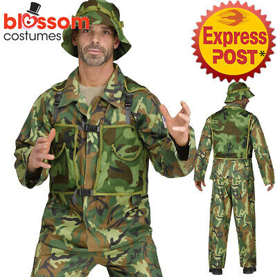 CA335 Authentic Special Forces Camo Uniform Military Army Soldier Mens Costume