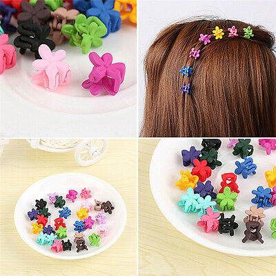 30X Mix Colored Girl Kids Baby Mini Flower Hair Claw Jaw Clip Hair Accessory DSU