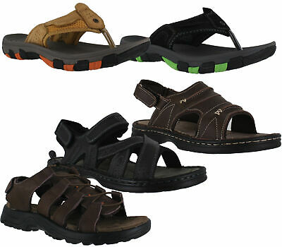 Mens Northwest Leather Slip On Touch Fastening Summer Mules Sandals Size 7 to 12