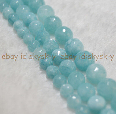 "Blue Natural Faceted Brazilian Aquamarine Gems Round Beads 15"" Strand 6/8/10mm"