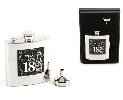 18th Birthday Gift Gents 6oz Hip Flask BOXED NEW 13105