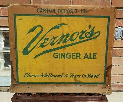 Vernors Ginger Ale Cardboard Case Original Soda Pop Box Crate used Detroit, Mich