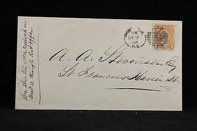 Canada: Montreal 1859 1c Large Queen Cover, Single Use