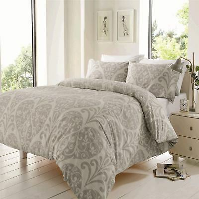 Chloe Duvet Quilt Cover Set, Bed Linen Double King Size Bedding, Silver