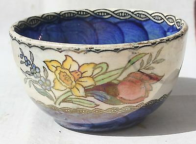 Antique Maling Pottery Blue Lustre Ware Miniature Enamel Bowl England.