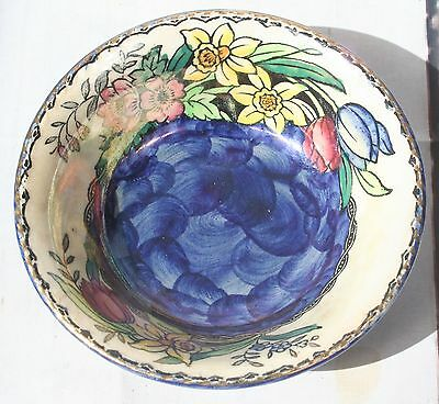Vintage Maling Pottery Blue Lustre Ware Hand Painted Enamel Pin Bowl Miniature