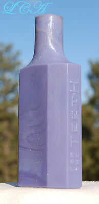Antique SANITOL for the TEETH embossed 1800's bottle PURPLE MILK glass BIM blown