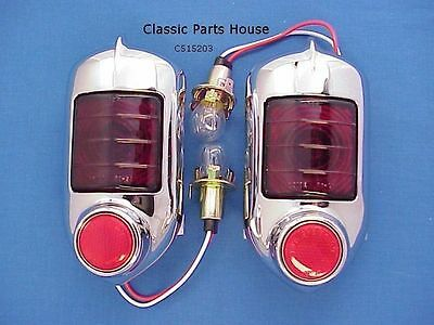 1951-1952 Chevy Tail Lights (2) inc Body Gaskets Deluxe New