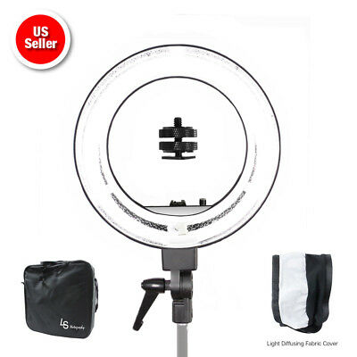 "18"" Dimmable Continuous Lighting Diva Ring Light Video Photography w/ Bag 5500K"