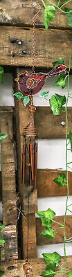 "Stained Glass Red Cardinal Bird On Twig Copper Metal Wind Chime 24""Long Decor"