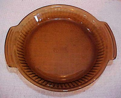 """Anchor Hocking Amber Brown Glass 9"""" Pie Plate w Tab Handles FREE S/H"""