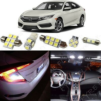 White LED Interior Lights & Reverse Package Kit 2016-2018 2019 Honda Civic +Tool