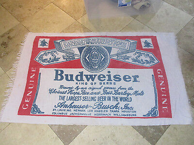 VINTAGE Budweiser Towel Full Label Bud Beer Beach Anheuser Busch White 90s S