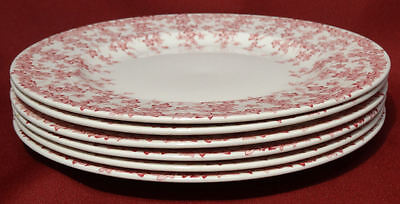 """Crown Ducal Early English Ivy (Joy) Pink  9"""" Luncheon Salad Plates Dishes- NICE!"""