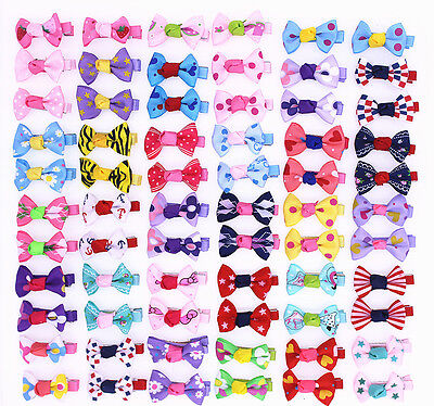 Pet Dog Hair Bows with Clips Mixed Patterns Dog Hair Accessories Pet Supplies