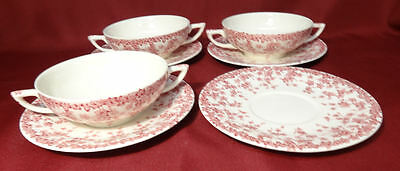 Crown Ducal Early English Ivy (Joy) Pink 3 Cream Soup Bowls w/4 Liners