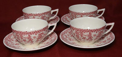 Crown Ducal Early English Ivy (Joy) Pink 4 Coffee Cups & Saucers