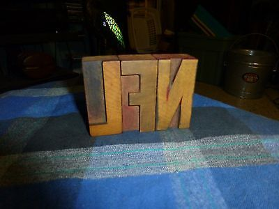 """Antique Wood Carved Printing Press Blocks set Of 3 Letters """"NFL"""" 2 1/2"""" Tall"""