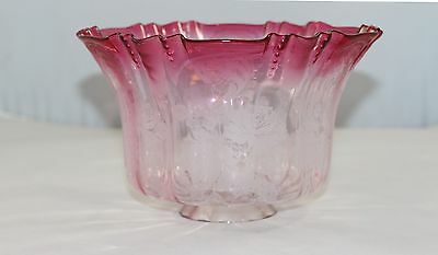 Rare Large Cranberry Glass Shade From Banquet Oil Lamp