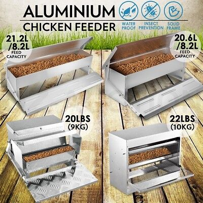8.2/20.6L Aluminium Auto Chicken Feeder Treadle Self Opening Feed Chook Poultry