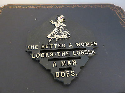"""Vintage Black Metal Trivet Wall Hanging Funny Saying...""""A Woman Looks Better"""""""