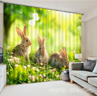 3D Cute Rabbits Blockout Photo Curtain Printing Curtains Drapes Fabric Window AU
