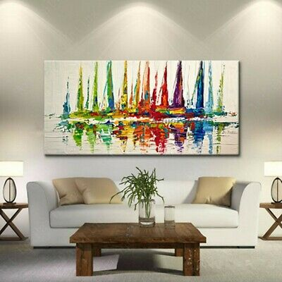 60X120CM Canvas Painted Modern Abstract Oil Painting Sailboat Sailing No Frame