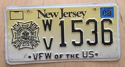 "New Jersey Vfw Of The Usa  License Plate "" Wv 1536 "" Veterans Of Foreign Wars Nj"