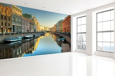 3D City canal house 1A Paper Murals Wall Print Decal Wall Deco AJ WALLPAPER