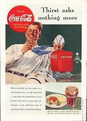 Thirst asks nothing more Coca-Cola ad 1938 fountain