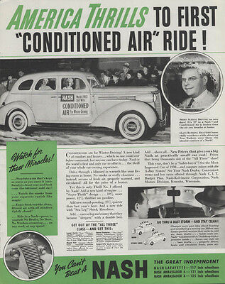 America Thrills to first Conditioned Air Ride! Nash ad 1938