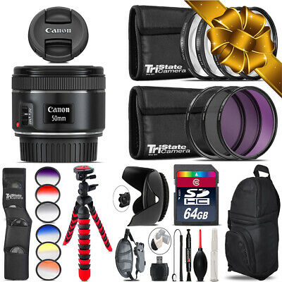 Canon EF 50mm f/1.8 STM Lens + Graduated Color Filter - 64GB Accessory Kit