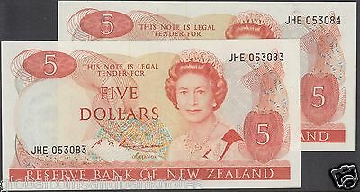 New Zealand - 1985 Russo $5 consecutive pair - UNC