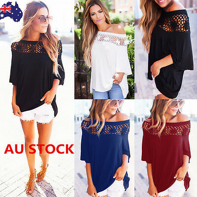 Women Lace Off Shoulder Shirt Crochet Hollow Out Tops Flared Long Sleeve Blouse