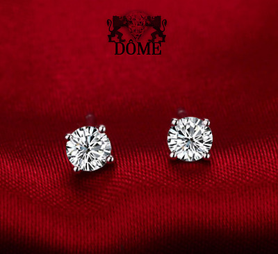 ❄❄ Boucles d'oreilles puces Diamants naturel véritable  Or blanc 18K 750 BO 0.60