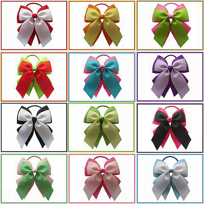 "14 BLESSING Happy Girl Hair Accessories 4.5"" Double Cheer Leader Bow Elastic"