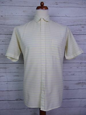 Vintage 1980s S-Sleeve Lemon / Grey Stripe Pierre Bodoni Shirt -L- DS33