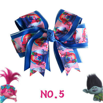 "20 BLESSING Happy Girl 4.5"" Trolls Cheer Hair Bow Clip 24 No. Poppy Little Pony"