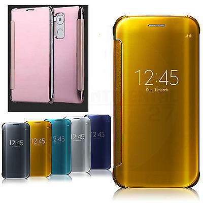 Luxury Mirror Smart Clear View Flip Leather Slim Case Cover For Huawei Cellphone