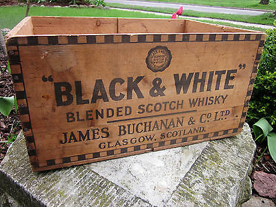 Vintage Black & White Scotch Whisky Wood Advertising Crate Wooden Box Glasgow