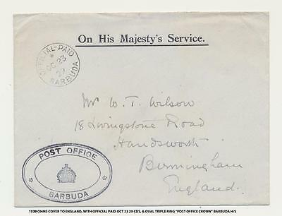 Barbuda To Uk 1929 Stampless Ohms Cover, Official Paid Cds+Post Office/crown Mk